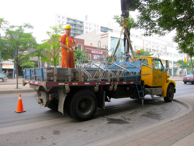 Bike corral installation on Spadina